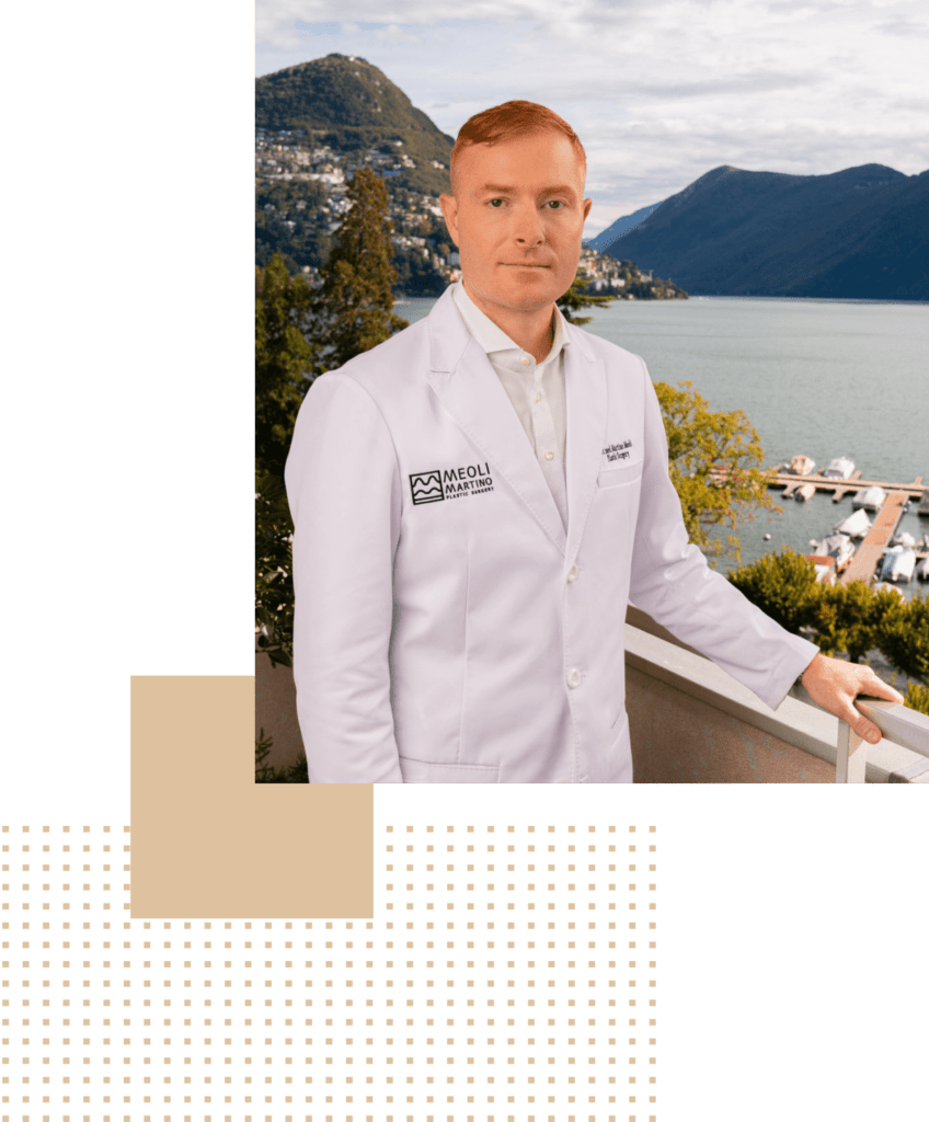 Dr Meoli Pastic surgeon standing on the balcony of his medical studio in Lugano